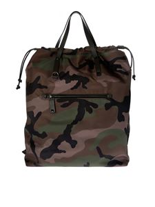 Valentino - Camouflage backpack with brown edges