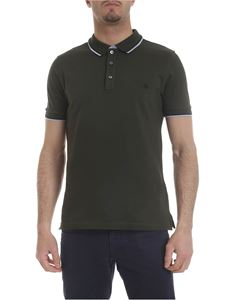 Fay - Dark green stretch cotton polo