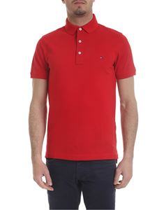 Tommy Hilfiger - Polo in red pique cotton