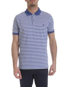 Fay - Striped polo in white and blue