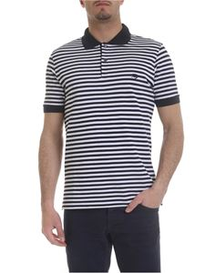 Fay - Striped polo in white and dark blue