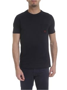 Fay - T-shirt in dark blue with pocket