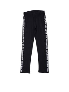 Balmain - Leggings in black with branded bands