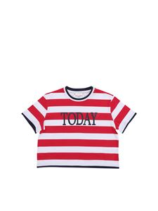 Alberta Ferretti - Today crop T-shirt with red and white stripes