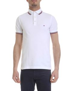 Tommy Hilfiger - White slim fit polo with logo embroidery