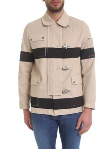 Fay - Four-hooks jacket in beige denim