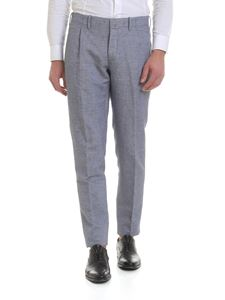 Incotex - Blue linen and cotton trousers