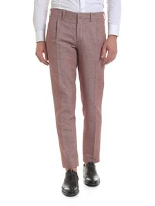 Incotex - Trousers in burgundy linen and cotton