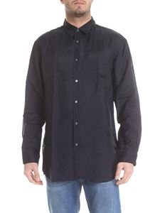Comme Des Garçons Shirt  - Camicia Wrinkled in cupro blu