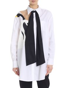 Vivetta - Rende long shirt in white with black ribbon