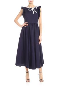 Vivetta - Sona dress in blue with white bow embroidery