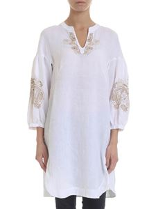 Le sarte pettegole - White oversize blouse with beige embroidery