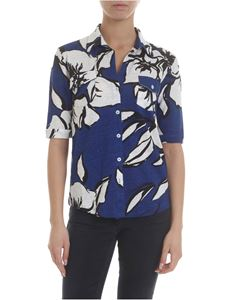 Majestic Filatures - Blue melange shirt with floral print