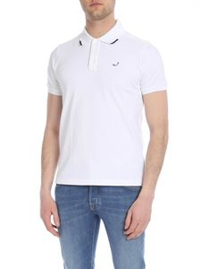 Jacob Cohën - White polo with contrasting logo embroidery