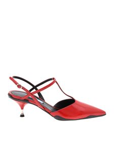 Prada - Pointy mules in red leather
