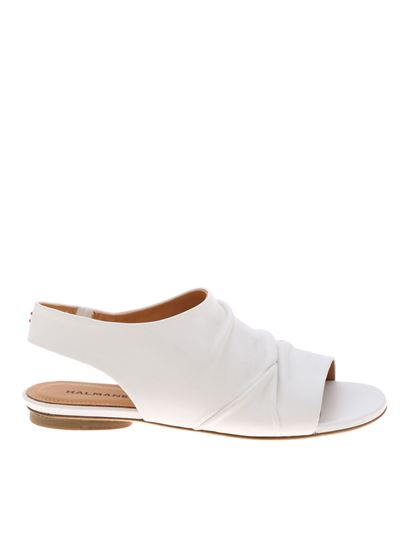 Halmanera - Vanill sandals in white with pleats