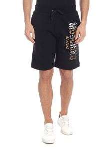 Moschino Swim - Black bermuda with multi pattern logo