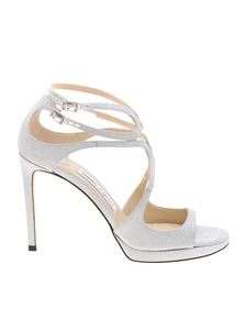 Jimmy Choo - Lance 100 sandals in glittered silver