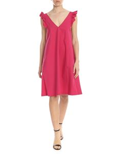 Liujo - Fuchsia midi cotton dress with ruffles
