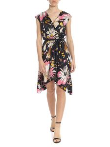 Liujo - Black midi dress with floral pattern