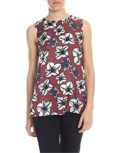 S Max Mara - Genio top in brown with floral pattern