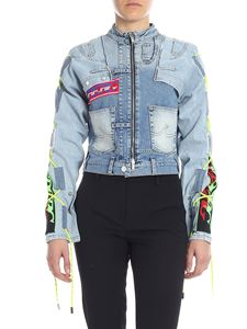 Iceberg - Light blue denim jacket with multicolor patches