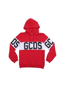GCDS - Red cotton sweatshirt with logo band
