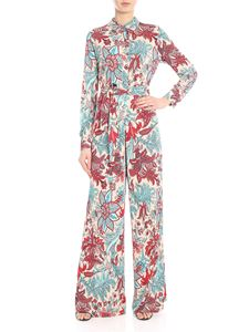 Jucca - Pink palazzo jumpsuit with floral print