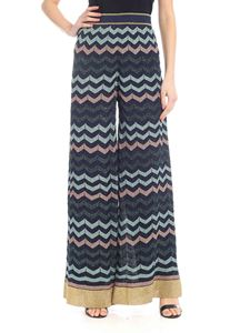 M Missoni - Lamé knitted palazzo trousers in blue