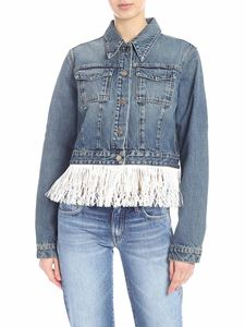 Alanui - Blue denim jacket with hawaii embroidery