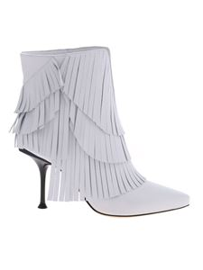 Sergio Rossi - Fringe ankle boots in white