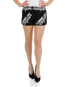 Comme des Fuckdown - Logo printed shorts in black cotton