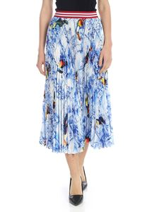 Stella Jean - Pleated skirt in light blue with toucans print