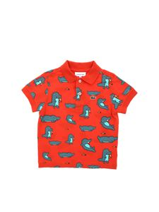 Lacoste - Red polo with crocodile print