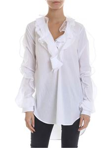 Ermanno Scervino - Blouse in white with ruffles and lace