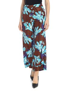 Parosh - Trousers in brown with floral pattern