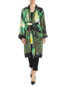 Parosh - Kimono in green and yellow with palms pattern