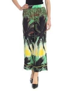 Parosh - Trousers with green and yellow palms pattern