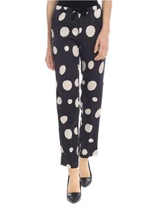 Manila Grace - Black trousers with beige dots