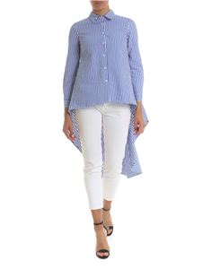 Gaelle Paris - Asymmetric shirt in blue with white stripes