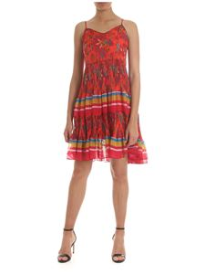 Twin-Set - Red printed dress with pleated details