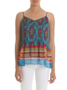 Twin-Set - Teal-green pleated top with print