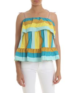 Twin-Set - Light blue and yellow striped top