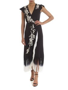 Twin-Set - Black dress with fringes and floral embroidery