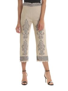 Twin-Set - Linen sand beige trousers with jewel embroidery