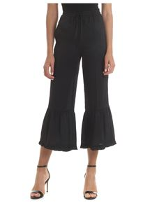 Twin-Set - Black crop trousers with flounce