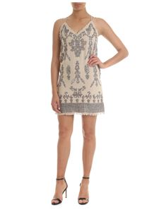 Twin-Set - Sand-beige linen dress with jewel embroidery