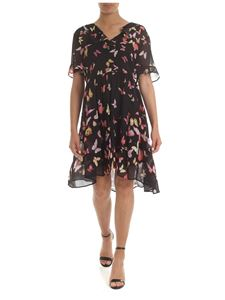 Twin-Set - Black viscose dress with butterfly print