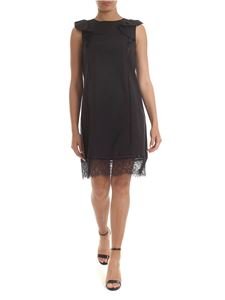 Twin-Set - Black sleeveless dress with lace and ruffles