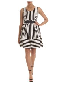 Twin-Set - Striped sleeveless dress in beige and black